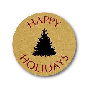 Other - christmas tree Happy Holidays kraft sticker labels